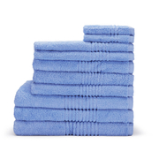 Highams 100% Egyptian Cotton 10 Piece Towel Bale (550gsm) - Blue