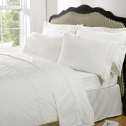 Highams 100% Egyptian Cotton Plain Dyed Bedding Set - Cream
