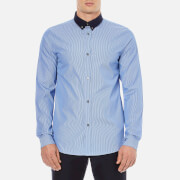 A.P.C. Men's Steven Contrast Collar Long Sleeved Shirt - Bleu