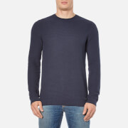 HUGO Men's Sorito Textured Crew Neck Knitted Jumper - Navy