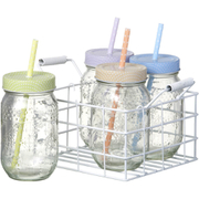 Parlane Spotty Jars with Straws (Set of 4)