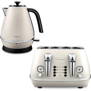 De'Longhi Distinta 4 Slice Toaster and Kettle Bundle - White Finish