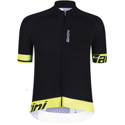 Santini Sleek 2.0 Aero Short Sleeve Jersey - Black/Yellow