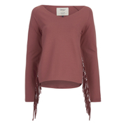 ONLY Women's Madge Long Sleeve O-Neck Tassel Sweatshirt - Marsala