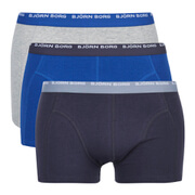 Bjorn Borg Men's Contrast 3 Pack Boxer Shorts - Grey Melange