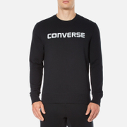 Converse Men's All Star Shield Reflective Print Crew Sweatshirt - Black