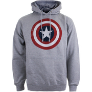Marvel Men's Captain America Sheild Hoody - Light Grey Marl