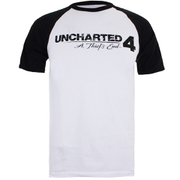 Unchartered 4 Mens Logo Raglan Heren T-Shirt - Wit/Zwart