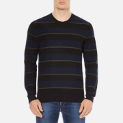 PS by Paul Smith Men's Stripe Crew Neck Knitted Jumper - Navy
