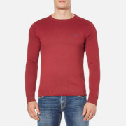 GANT Men's Contrast Cotton Crew Neck Knitted Jumper - Bordeaux Melange