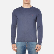 GANT Men's Contrast Cotton Crew Neck Knitted Jumper - Dark Indigo