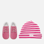 Timberland Babies' Crib Booties with Hat Gift Set - Fuchsia Rose