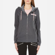 ONLY Women's Ellen Hooded Zip Top - Dark Grey Malange