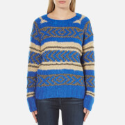 Maison Scotch Women's Special Lurex Jacquard Crew Neck Jumper - Blue