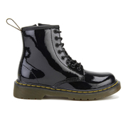 Dr. Martens Kids' Delaney Patent Leather Lace Boots - Black