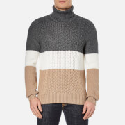 Lacoste L!ve Men's Roll Neck Jumper - Medium Grey Jaspe/White Oats