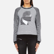 Karl Lagerfeld Women's Karl Head Jacquard Sweatshirt - Black/White
