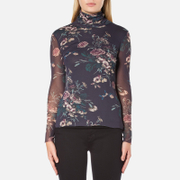 Ganni Women's Delaney Mesh High Neck Top - Black Bouquet