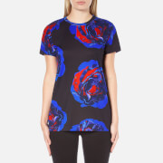 DKNY Women's Short Sleeve Comic Rose Print T-Shirt - Black