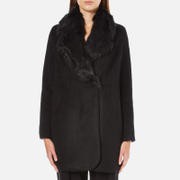 Paisie Women's Double Breasted Coat With Faux Fur Collar - Black