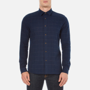 Folk Men's Checked Long Sleeve Shirt - Navy Window Pane