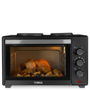 Tower T14013 28L Mini Oven with Double Hotplates - Black