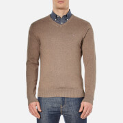 Tommy Hilfiger Men's Pima Cotton Cashmere V Neck Jumper - Walnut Heather