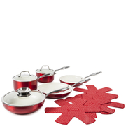 Tower Pro Metallic Pan Set - Red (9 Piece)
