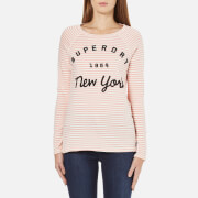 Superdry Women's Applique Raglan Long Sleeve Top - Blush Pink/Cream Stripe