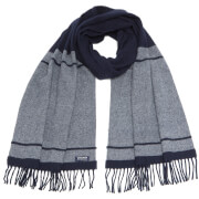 Woolrich Women's Classic Double Wool Scarf - Navy Stripe