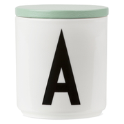 Design Letters Wooden Lid For Porcelain Cup - Green