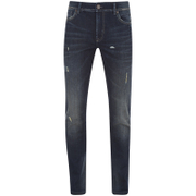 Produkt Men's Distressed Slim Fit Jeans - Mid Blue Denim