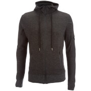 Brave Soul Men's Prof Longline Zip Through Hoody - Black/Off White