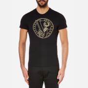 Versace Jeans Men's Printed Crew Neck Short Sleeve T-Shirt - Black