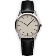 Uniform Wares Men's C35 Polished Steel Italian Nappa Leather Wristwatch - Black
