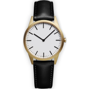 Uniform Wares Men's C35 Pvd Gold B Italian Nappa Leather Wristwatch - Black