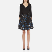 Diane von Furstenberg Women's Jewel Wrap Dress with Mikado Skirt - Black