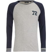 Brave Soul Men's Granite Raglan Long Sleeve Top - Grey Marl/Blue