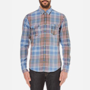 BOSS Orange Men's Edoslime Checked Shirt - Open Blue