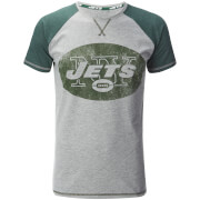NFL Men's New York Jets Logo Contrast Sleeve T-Shirt - Grey