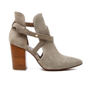 H Shoes by Hudson Women's Jura Suede Studded Heeled Ankle Boots - Taupe