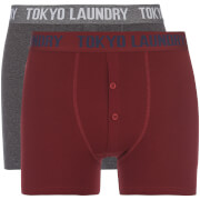 Tokyo Laundry Men's Coomer 2 Pack Boxers - Oxblood/Charcoal Marl