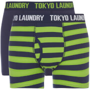Tokyo Laundry Men's Deptford 2 Pack Stripe Boxers - Midnight/Green