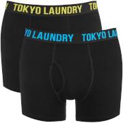 Tokyo Laundry Men's Dovehouse 2 Pack Boxers - Black/Butter/Blue