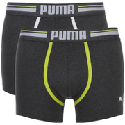 Puma Men's 2-Pack Athletic Blocking Boxers - Charcoal/Light Grey