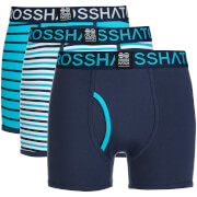 Crosshatch Men's 3 Pack All Sync Striped Boxers - Mood Indigo/Scuba Blue