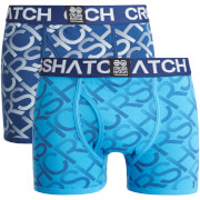 Crosshatch Herren Equalizer 2-Pack Boxers - Estate Blue/Malibu Blue