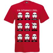 Star Wars Herren Stormtrooper Emotions Christmas T-Shirt - Rot