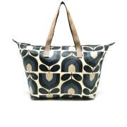 Orla Kiely Women's Matt Laminated Stripe Tulip Print Zip Shopper Bag - Dusk