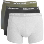 Bjorn Borg Men's 3 Pack Solid Boxer Shorts - Grey Melange